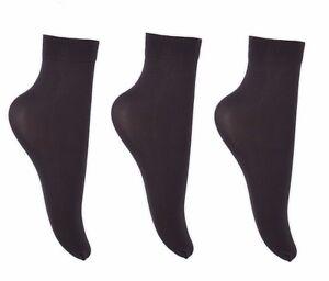 3 pairs 40 Denier Ladies Soft Opaque Ankle High Trouser Pop Socks Anklets Socks
