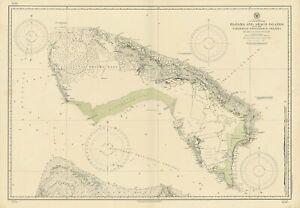 Little Bahama Bank. Grand Bahama Great Abaco Islands. US Navy sea chart 1915 map