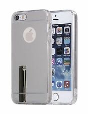Bling Mirror Effect TPU Silicone Gel Skin Case Cover Silver For iPhone 5 5S