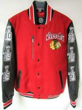 Chicago Blackhawks Mens M - XL 6 Time Champions Wool Leather Jacket B1 385