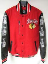 Chicago Blackhawks Mens M - XL 6 Time Champions Wool Leather Jacket B1 385