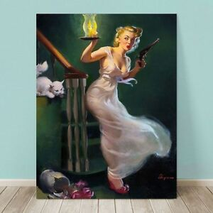 """VINTAGE Pin-up Girl CANVAS PRINT Gil Elvgren  24x16"""" Looking for Trouble"""