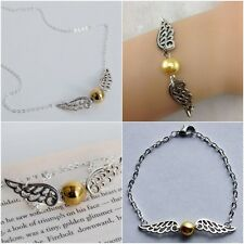 Set of 2 Harry Potter Golden Snitch Double Wing Necklace Bracelet Set HP-471