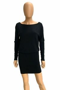 Donna Karan Solid Black Viscose Blend Long Sleeve Sweater Knit Dress Sz XS/P NWT
