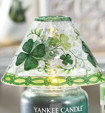 YANKEE CANDLE LUCKY SHAMROCKS CRACKLE GLASS CANDLE JAR SHADE TOPPER HTF