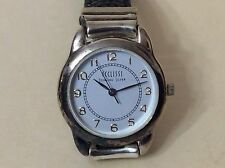 ECLISSI Sterling Silver Women's Quarts Watch Black Genuine Leather Band