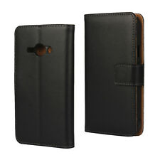 For Samsung Galaxy J1 Ace, Black Genuine Leather Wallet Card Flip Case Cover