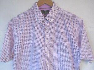 "Fynch-Hatton berry floral print short sleeve shirt XL/42""-44""chest"