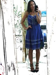 $80 LADAKH Zandra Dress 14 BLUE white embroidered scalloped hems tier lined NEW