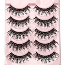 v: Soft 5 Pairs Handmade Makeup Thick False Eyelashes Eye Lashes Long Black