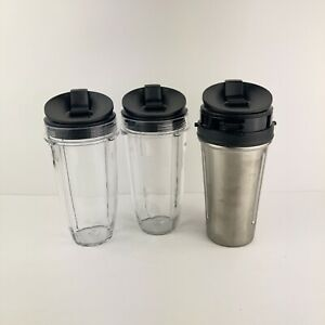 Nutri Ninja Blender 24OZ Juicer Cups with Lids Stainless Steel Clear