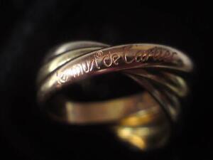 Vintage French 18ct 750 Tri-colour Gold Les Must de Cartier Trinity Ring 10grams