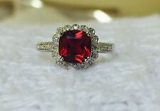 Womens New Diamond & Ruby Ring Solid Sterling Silver 925 Halo Cluster