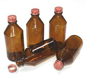 10 x DDR Apothekerflasche Gefäß Braunglas Bakelit-Deckel 200 ml Standgefäß