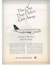 1998 AIR CANADA Chicago To Winnipeg AIRBUS A319 Jet Plane Vtg Print Ad