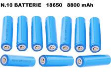 Lotto 10 pezzi batteria ricaricabile 18650 Li-ion 3,7V pila pile torcia batterie