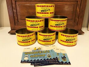 Woodfield Fish & Oyster Company Galesville MD Herring Roe Tin Cans Shrimp Labels