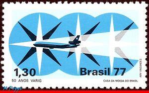 1544 BRAZIL 1977 AVIATION, 50 YEARS OF VARIG  AIRLINE, MI# 1636 RHM C-1023, MNH
