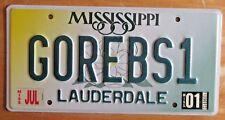 Mississippi 2001 VANITY License Plate GO REBELS 1