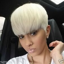 Manly Short Straight Full Bang Platinum Blonde Women's Synthetic Hair Wig NEW