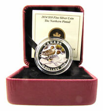 2014 Proof $10 Silver 'Pintail Duck' Coin .9999 Fine Silver (coin,box and COA)