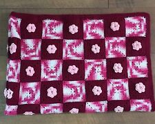 HANDMADE Crocheted AFGHAN Knit THROW Pink ROSE Quilt COUCH Lap BLANKET 66 x 44