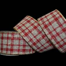 "25 Feet Christmas Country Red Brown Plaid Jute Burlap Like Wired Ribbon 2 1/2""W"