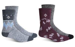 COLUMBIA Fleece Lined Women's Thermal Crew Socks Lightweight Boot Socks 2 Pairs