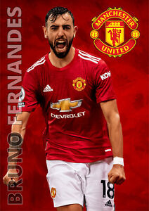 Bruno Fernandes Poster Manchester United FC Football Wall Art A3 and A4