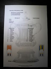 1947-48 FA Cup 3rd Round Blackpool v Leeds United matchsheet