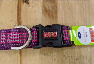 KONG Purple Reflective Collar - size XL - Plastic Clasp - New