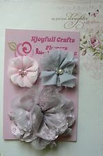 HANDMADE 3 Mixed Flowers PINK & GREY Organza Lace 45, 70 100mm Njoyfull CraftsHT