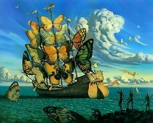 Print - Ship with Butterfly Sails by Salvador Dali