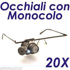 OCCHIALI DI PRECISIONE MONOCOLO LENTE INGRANDIMENTO 20X CON LUCE LED OROLOGI