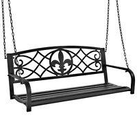 BCP Outdoor Metal Hanging 2-Person Swing Bench w/ Fleur-de-Lis Accents