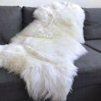 Large 110cm Top Quality British White Sheepskin Rug 100% Natural Free-range UK