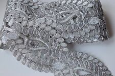 ATTRACTIVE INDIAN BRAIDED LACE TRIM WITH SILVER PAISLEY PATTERN - SOLD by METRE