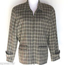 Vintage Size 14 Women's L.L. Bean Olive Plaid Wool Zippered Jacket Made In USA