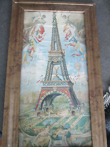 BEAUTIFUL OLD PRINT OF EIFFEL TOWER FRAMED