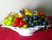 White Glass Centerpiece Bowl with Plastic Fruit Green Purple Grapes Strawberries