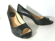 COLE HAAN US 9.5M Black snake print leather open toe pump high heel shoes