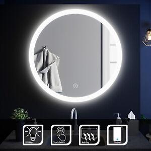 Wall Mirror Round Acrylic Framed LED Light Anti-fog Bathroom IP44 580-840mm
