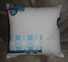 LAURA ASHLEY FABRIC BOY'S BEDROOM TRACTORS & TRUCKS 15 inch Complete Cushion