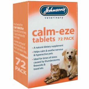 JOHNSON'S CALM-EZE TABLETS 72 PACK HELPS CALM & SOOTHE DOGS, CATS VETERINARY