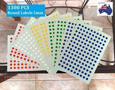1300 Pcs Mini Round Circle Dots Spots Label Sticker Assorted Colour Code  5mm