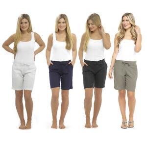 Ladies Womens Linen Shorts Summer Beach Lounge Pants UK Size 10 12 14 16 18 20
