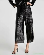 Lady Sequin Loose Wide Legs Pants Chic Waist Elastic Leisure Trouser Spring 2018