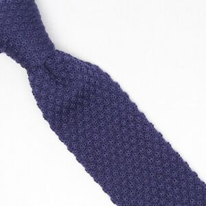 Gladson Mens Knit Wool Necktie Solid Navy Blue Burgundy Square End Tie Italy