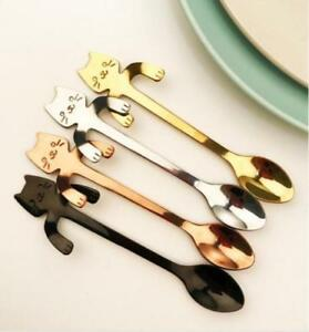 Cute Stainless Steel Cat Coffee Drink Spoon Tableware Kitchen Tool Hanging cup A