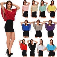 Damen Bluse Chiffon Tunika Minikleid 2 in 1 Oberteil Fledermausärmel 15 Farben
